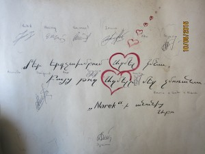 Signatures de tous les choristes....Léninakhan 1990-1991
